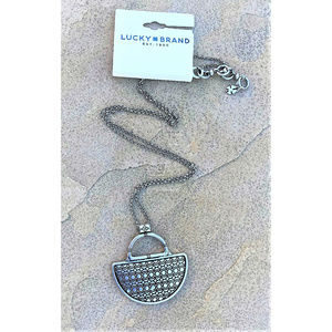 LUCKY BRAND Silver Tone Semi Circle Necklace